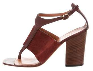 Celine Leather Suede-Trimmed Sandals