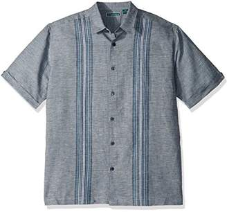 Cubavera Men's Short Sleeve Linen-Blend No-Pocket Button-Down Shirt with Panels