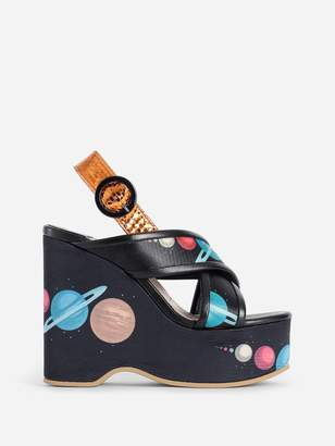 Undercover MULTICOLOR PRINTED WEDGE SANDALS