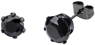 JCPenney FINE JEWELRY Black Cubic Zirconia 8mm Stainless Steel and Black IP Stud Earrings