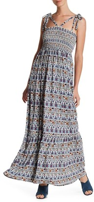 Bobeau Printed Smocked Maxi Dress $76 thestylecure.com