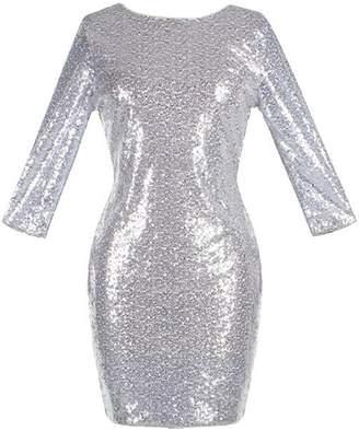 Yacun Women 3/4 Sleeve Sequins Bodycon Clubwear Mini Party Dress M