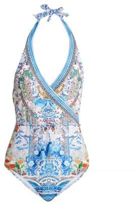 Camilla Geisha Gateways Printed Wrap Style Swimsuit - Womens - Blue White