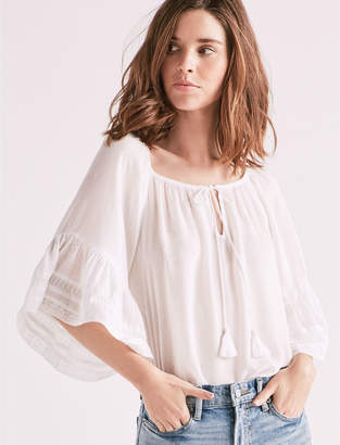 Lucky Brand BELL SLEEVE PEASANT TOP