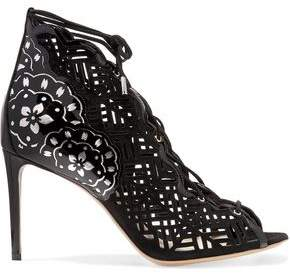 Nicholas Kirkwood Laser-Cut Nubuck And Patent-Leather Sandals