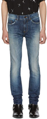 Saint Laurent Blue Dirty Low-Rise Skinny Jeans