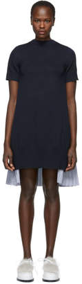 Sacai Navy Knit Shirting Dress