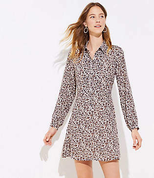 LOFT Leopard Print Flare Shirtdress