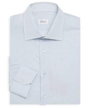 Brioni Cotton Micro-Check Dress Shirt