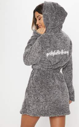 PrettyLittleThing Charcoal Fluffy Dressing Gown