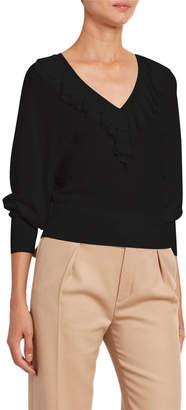 Chloé Wool Ruffled V-Neck Sweater