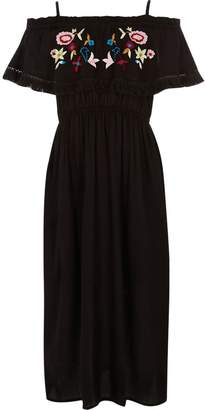 River Island Girls Black embroidered frill maxi dress