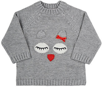 Lili Gaufrette Sleeping Owl Stockinette-Stitched Sweater-GREY