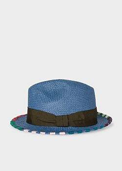 609c88e2809 Men s Slate Blue Woven Straw Fedora Hat With Multi-Coloured Stitching