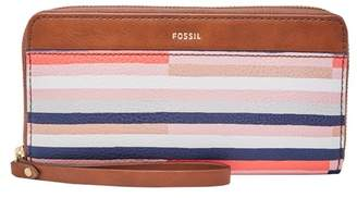 Fossil Jori Rfid Zip Clutch Wallet Colorful Stripes