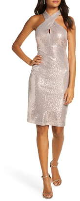 Eliza J Sequin Cross Neck Body-Con Dress