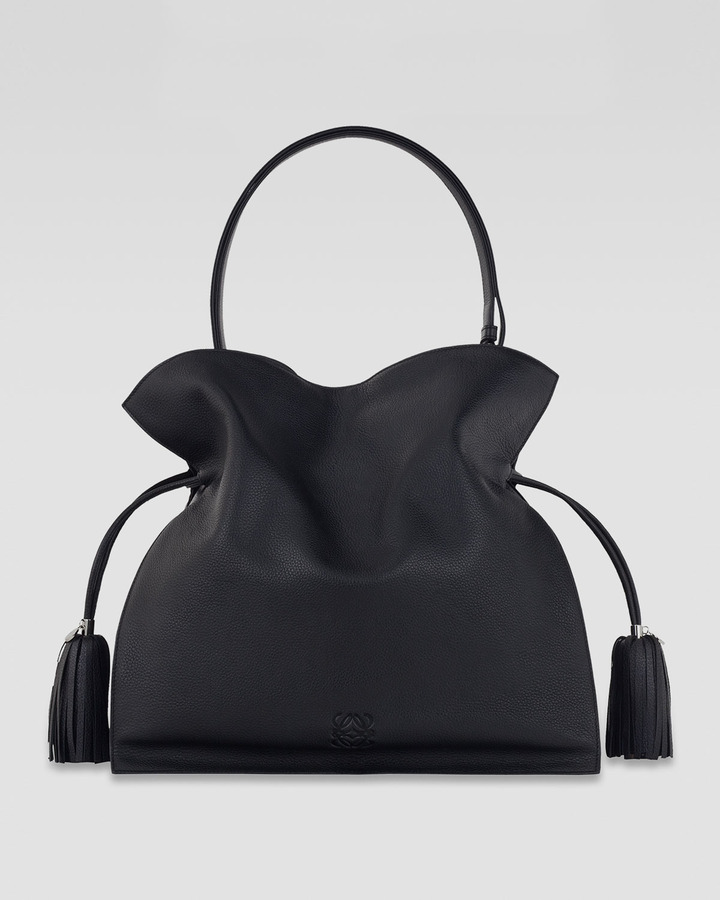 Loewe Flamenco 36 Drawstring Leather Bag, Black