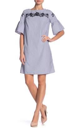 Jones New York Bell Sleeve Embroidered Dress