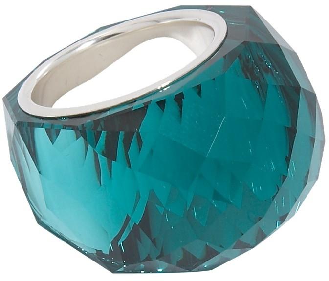 Swarovski Nirvana medium silver crystal faceted stone ring
