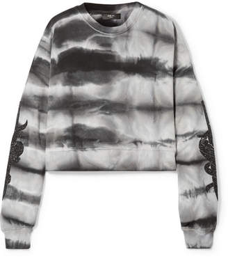 Amiri Embellished Tie-dyed Cotton-jersey Sweatshirt - Black