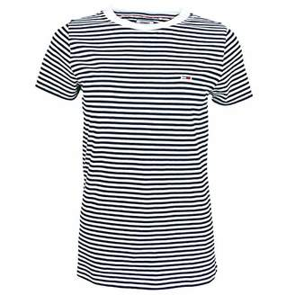 Tommy Hilfiger Tommy Jeans Women's T Shirt Short Sleeve Boyfriend Tee Classics Collection Black/Bright White