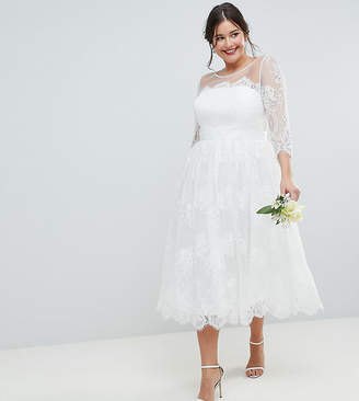 Asos EDITION Curve Lace Midi Prom Wedding Dress