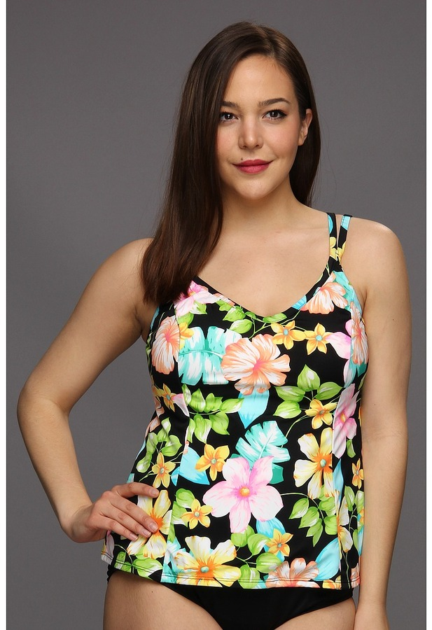 Miraclesuit Plus Size Enchanted Forest Malibu Top (Black) - Apparel