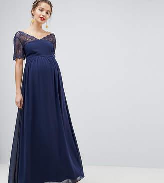 Asos DESIGN Maternity lace insert panelled maxi dress