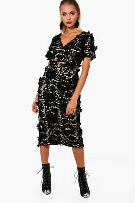 boohoo Floral Applique Midi Skirt Co-Ord