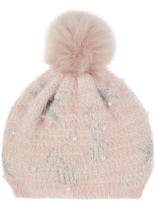 77ea06b8e70a Monsoon Fleece Orla Unicorn Faux Fur Beanie Hat