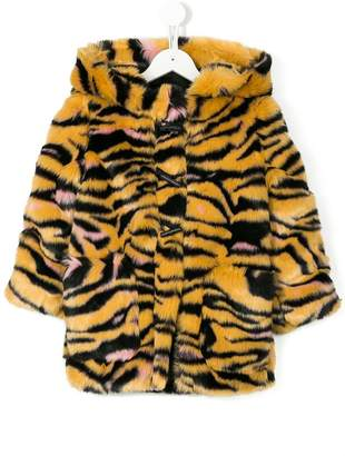 Kenzo faux fur tiger stripe hooded coat