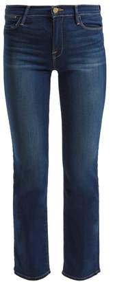 Frame Le High Straight Leg Cropped Jeans - Womens - Dark Blue
