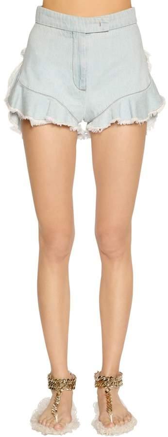 Giamba Ruffled Denim Shorts