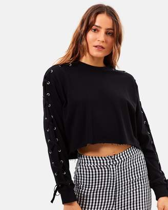 Paramount Lace Up Crop Sweater