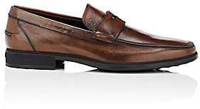 Tod's Men's Burnished Leather Penny Loafers-Brown