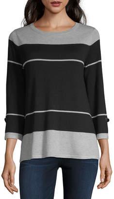 Liz Claiborne Womens Crew Neck 3/4 Sleeve Striped Pullover Sweater