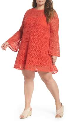 Dahlia ELVI The Bell Sleeve Crochet Shift Dress