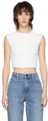 Off-White alexanderwang.t Cropped Ruched Tank Top