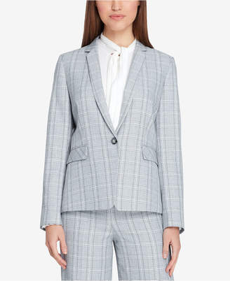 Tahari ASL Plaid One-Button Notch-Collar Jacket