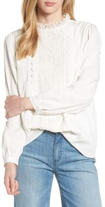 Halogen Long Sleeve Lace Front Blouse