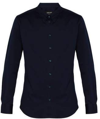Giorgio Armani Slim Fit Cotton Shirt - Mens - Navy