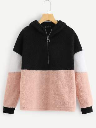 Shein O-ring Zip Front Colorblock Teddy Jacket