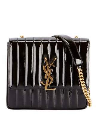 Saint Laurent Monogram Vicky Large Quilted Patent Leather Chain Crossbody Bag