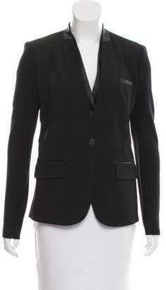 Yigal Azrouel Cut25 by Leather-Trimmed Collarless Blazer w/ Tags