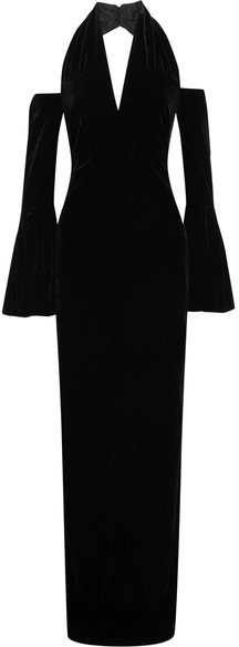 TOM FORD - Cold-shoulder Velvet Halterneck Gown - Black