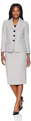 Le Suit Women's Plus Size 3 Button Shawl Collar JKT Skirt