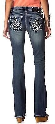 Miss Me Denim Jeans Women Lucky Clover Crystal Bootcut 27 JP7535B