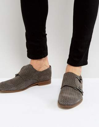 Asos Monk Shoes In Grey Suede With Perforated Detail