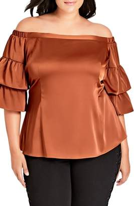 City Chic Charming Off the Shoulder Satin Blouse