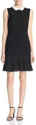 Karl Lagerfeld Paris Collared Lace-Trim Dress